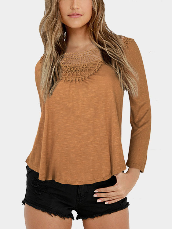 Brown Loose Hollow Out Round Neck Blouse waugh e put out more flags