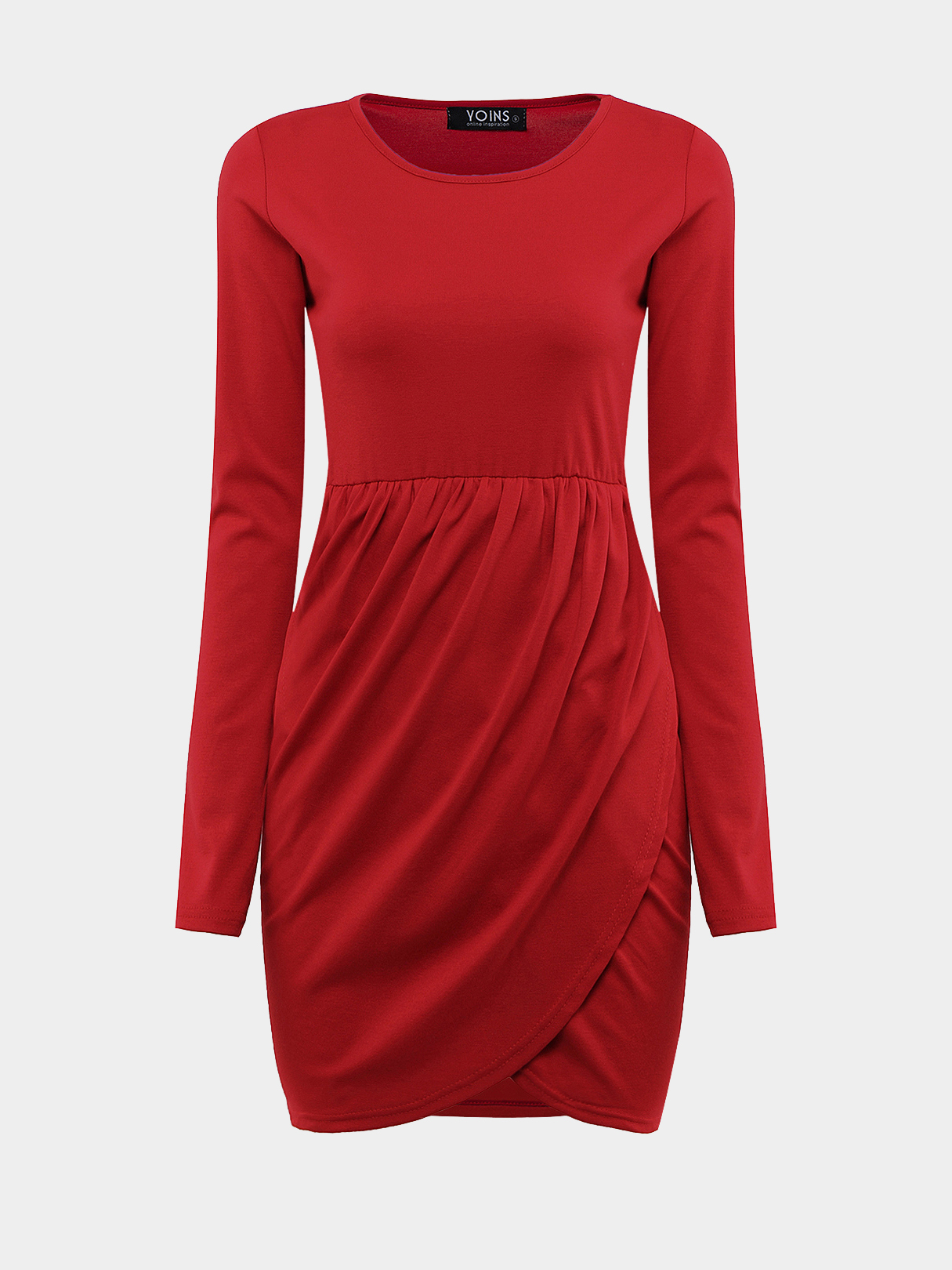 Red Long Sleeves Mini Dress with Cross Front
