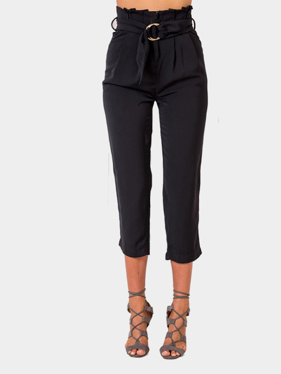 Black Ruffle Waist Pants With Belt