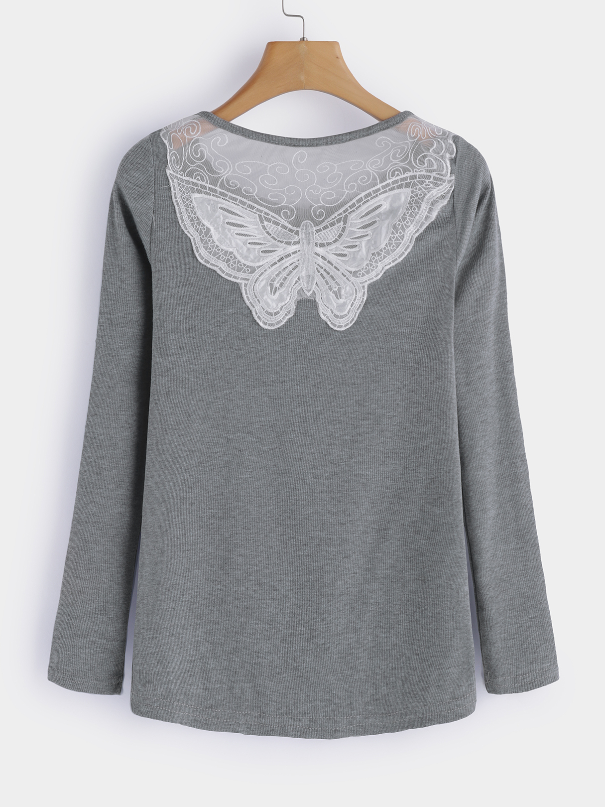 Grey Lace Details Round Neck Long Sleeves T-shirts beige see through lace details star round neck t shirt