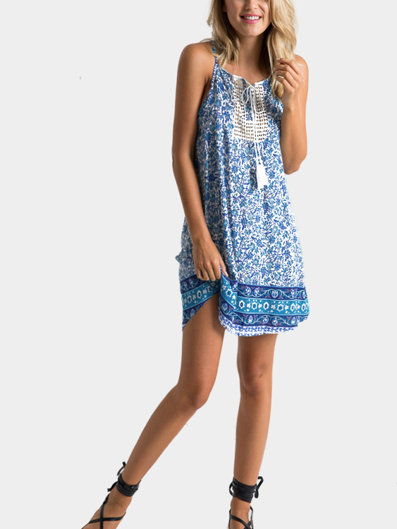 Floral Print Hollow Out Self-tie Neck Sleeveless Mini Dress