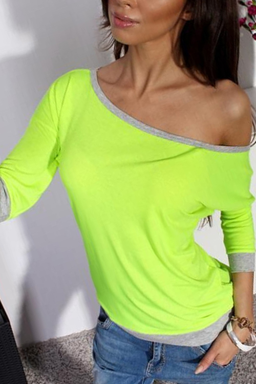 Fluorescent Green Casual One Shoulder Contrast T-shirt