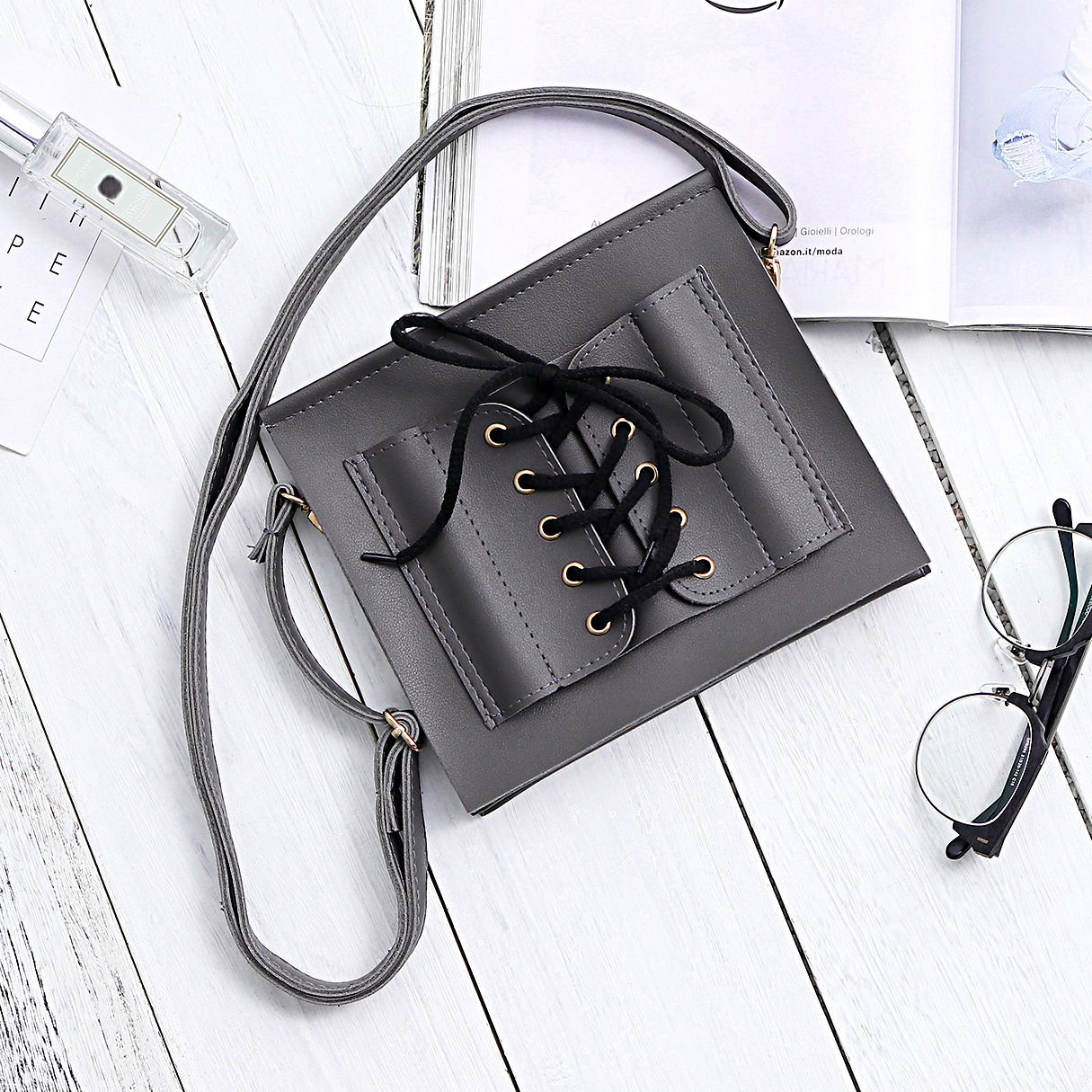 Фото - Grey Lace-up Design Crossbody Bags ladsoul 2018 women multifunction makeup organizer bag cosmetic bags large travel storage make up wash lm2136 g