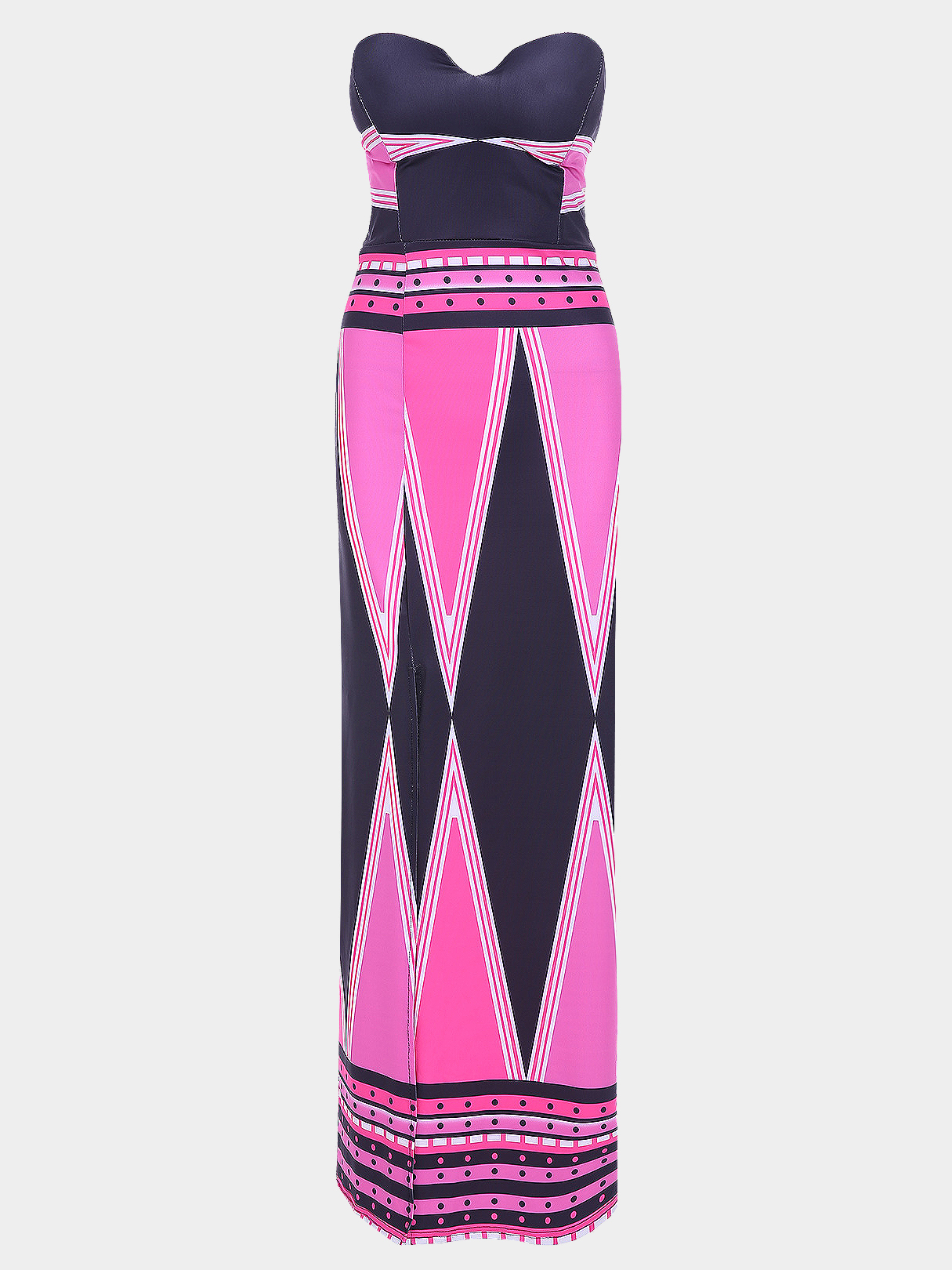 Sexy Strapless Stripe Pattern Slit Design Maxi Dress - US$21.95 -YOINS