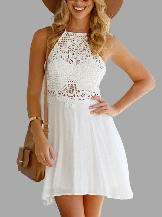 White Hollow Out Lace Sexy Halter Dress