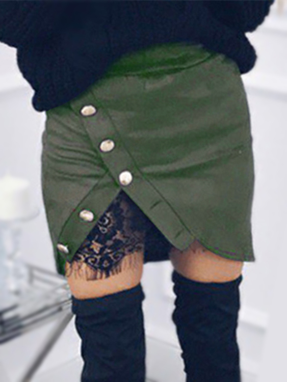 Green Lace Lining Buckle Split Sexy Mini Skirt leather look mini skirt with zipper details