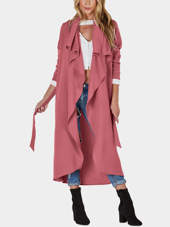 Pink Lightweight Open Front Buttonless Longline Trench Coat
