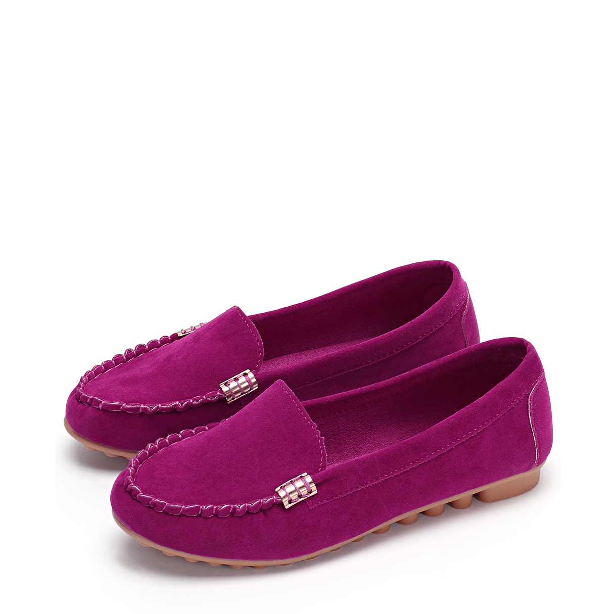 Rose Plain Design Round Toe Moccasin Loafers