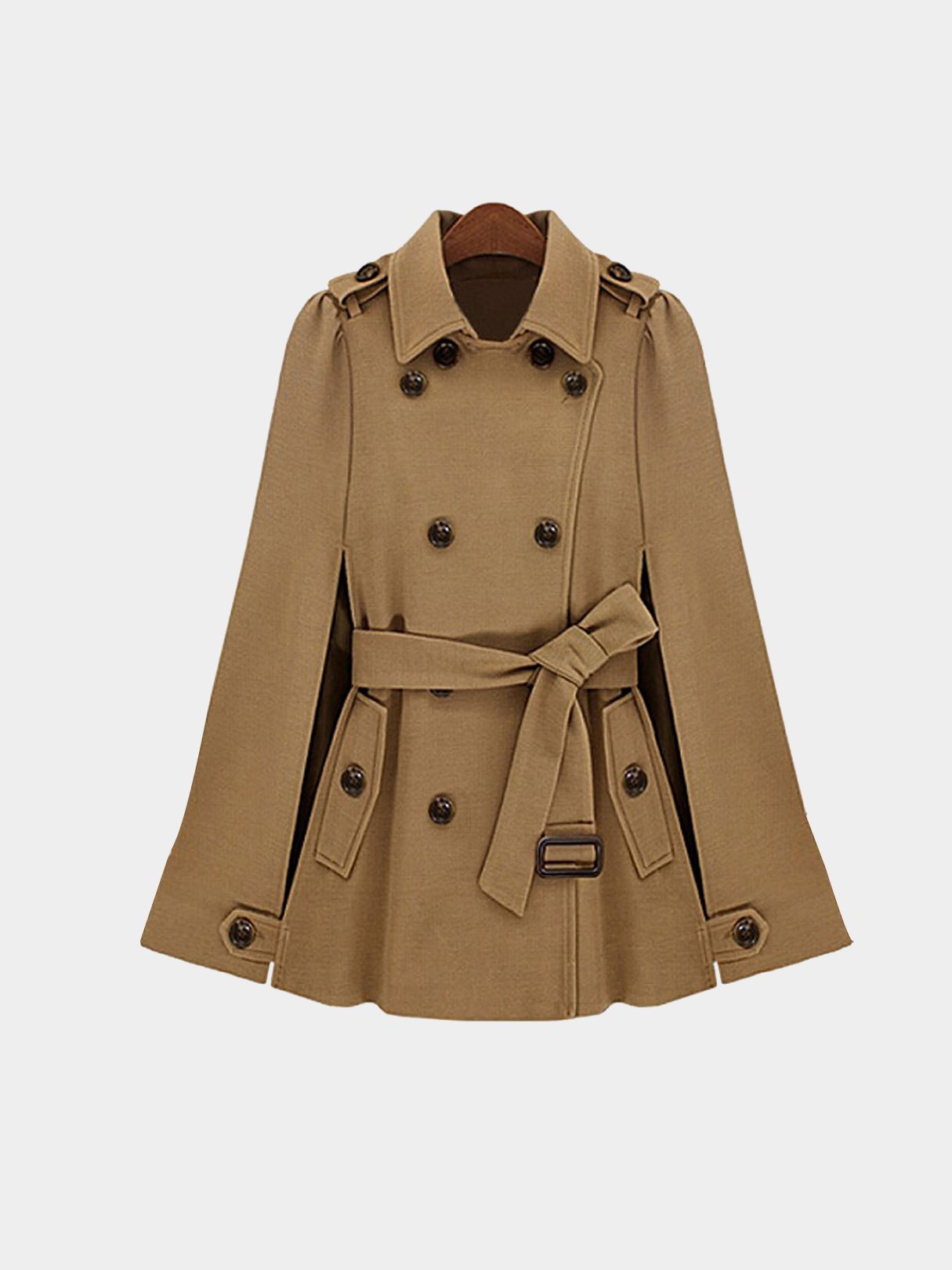 Camel Double Breasted Cape Coat With Belt wool blend long a line wrap coat with belt