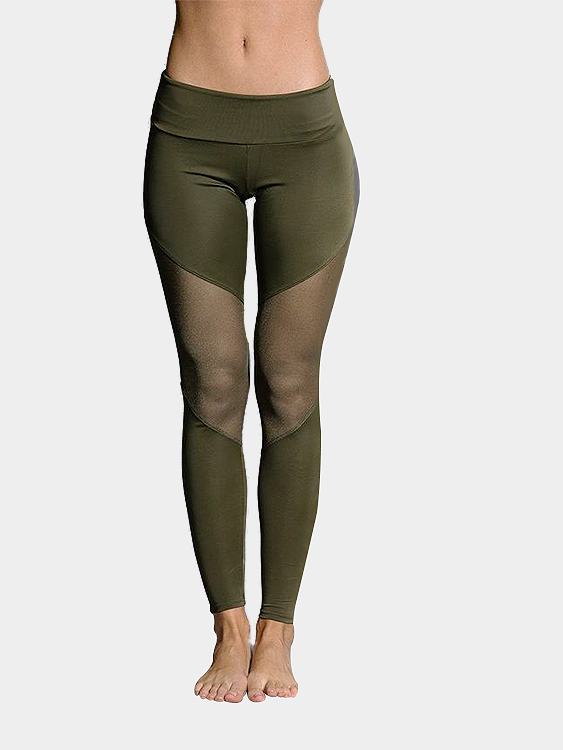 Army Green Fashion Mesh Patchwork Bodycon Sport Leggings