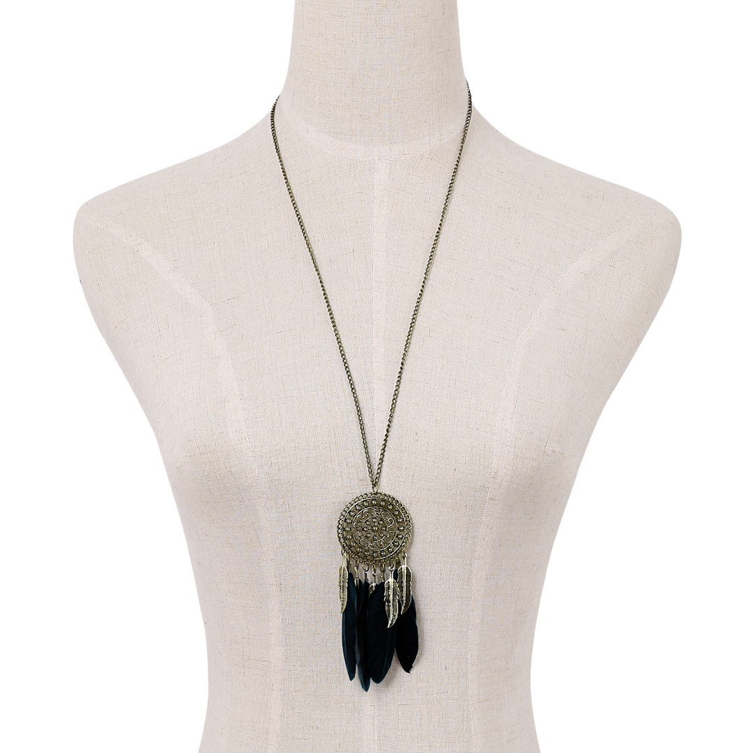 Black Feather Carved Leaves Hollow Design Long Chain Necklace