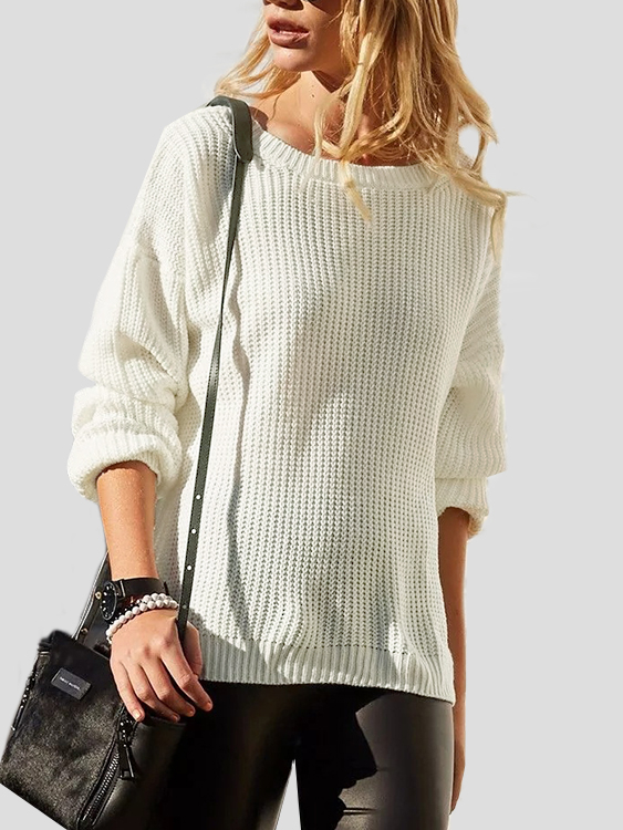 White Deep V-neck Two-way Wear Long Sleeves Sweater