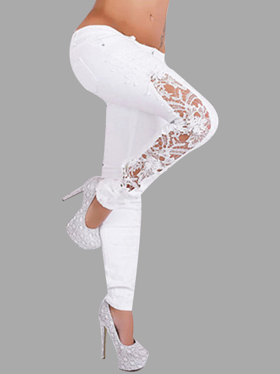 White Lace Details Fashion Leggings
