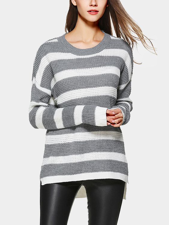 Stripe Pattern Round Neck Long Sleeves Jumper стоимость