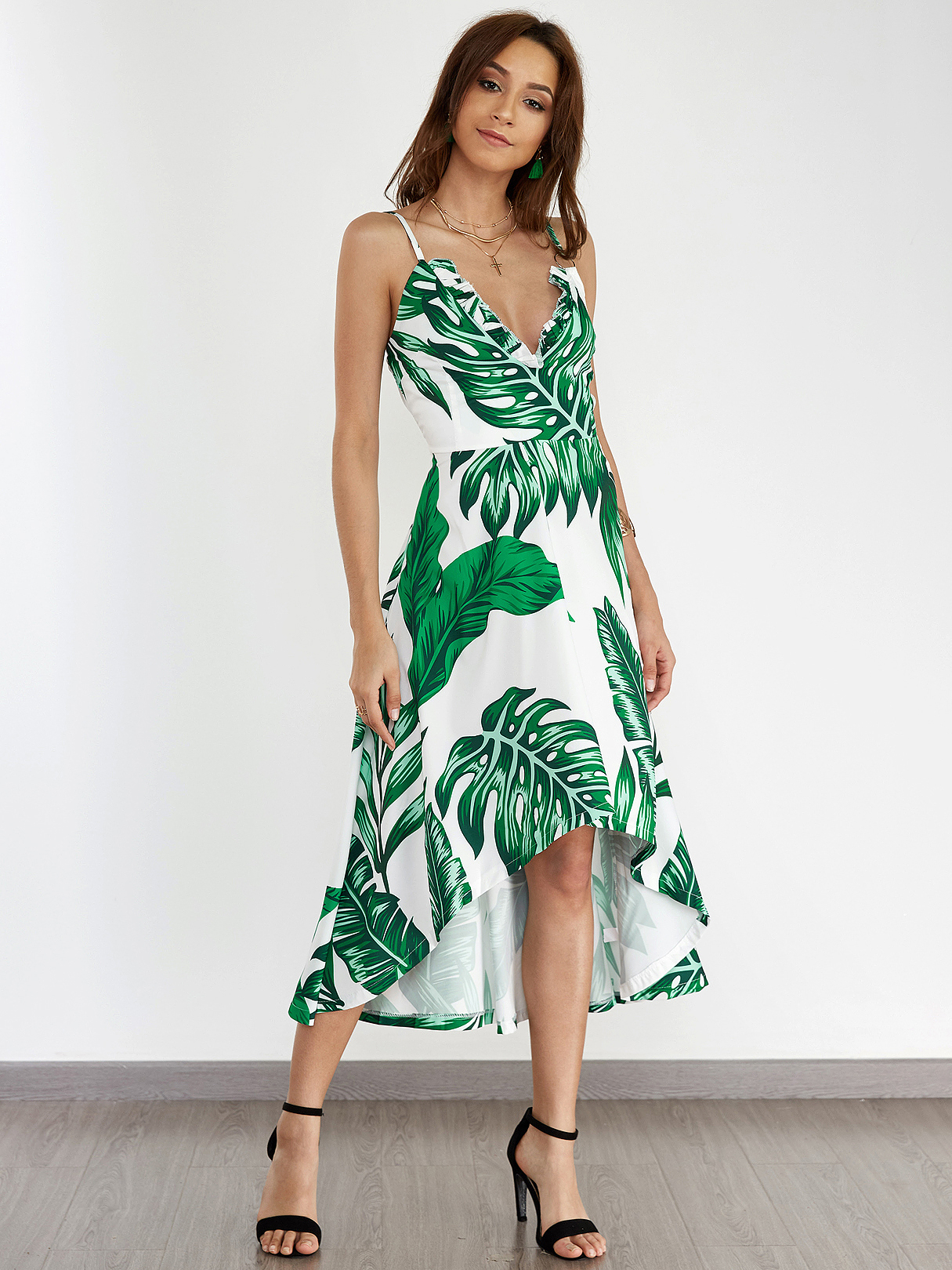 Random Floral Printed Metal Ring Deep V Neck Sleevesless Long Dress