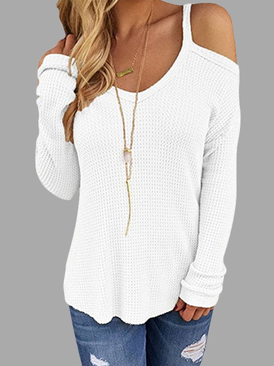 White Beige Thin Shoulder Cold Shoulder Long Sleeve T-shirt