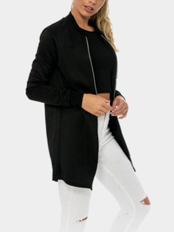Black Fashion Stand Collar Jacket managing projects made simple