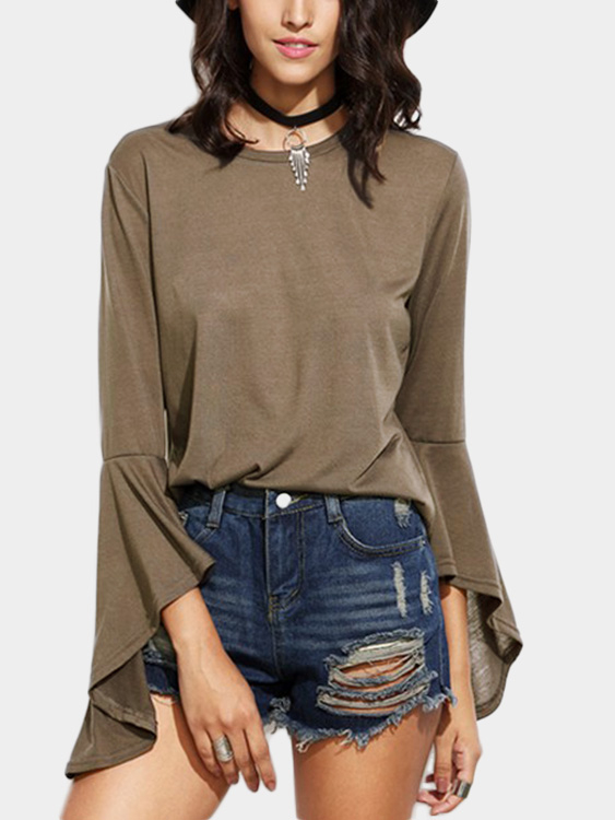 Khaki Round Neck Flared Sleeves T-shirt black splited in the back plain round neck flared sleeves blouse