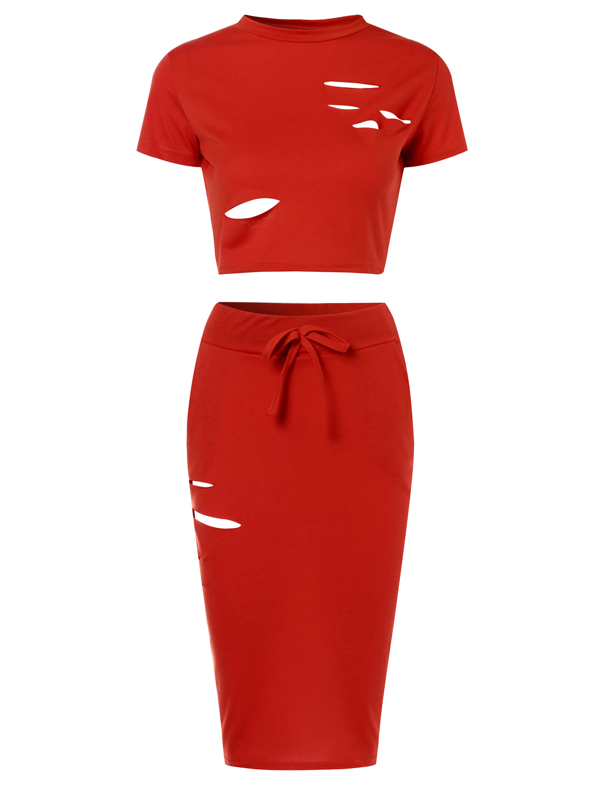 Coral Sexy Ripped Holes Crop Top and Skirt Two Piece Outfits holes