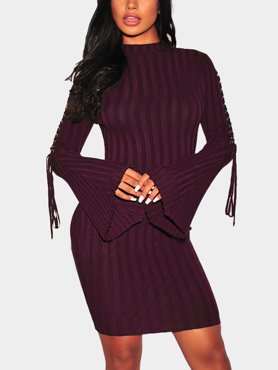 Burgundy Lace-up Bell Sleeves Round Neck Midi Dress
