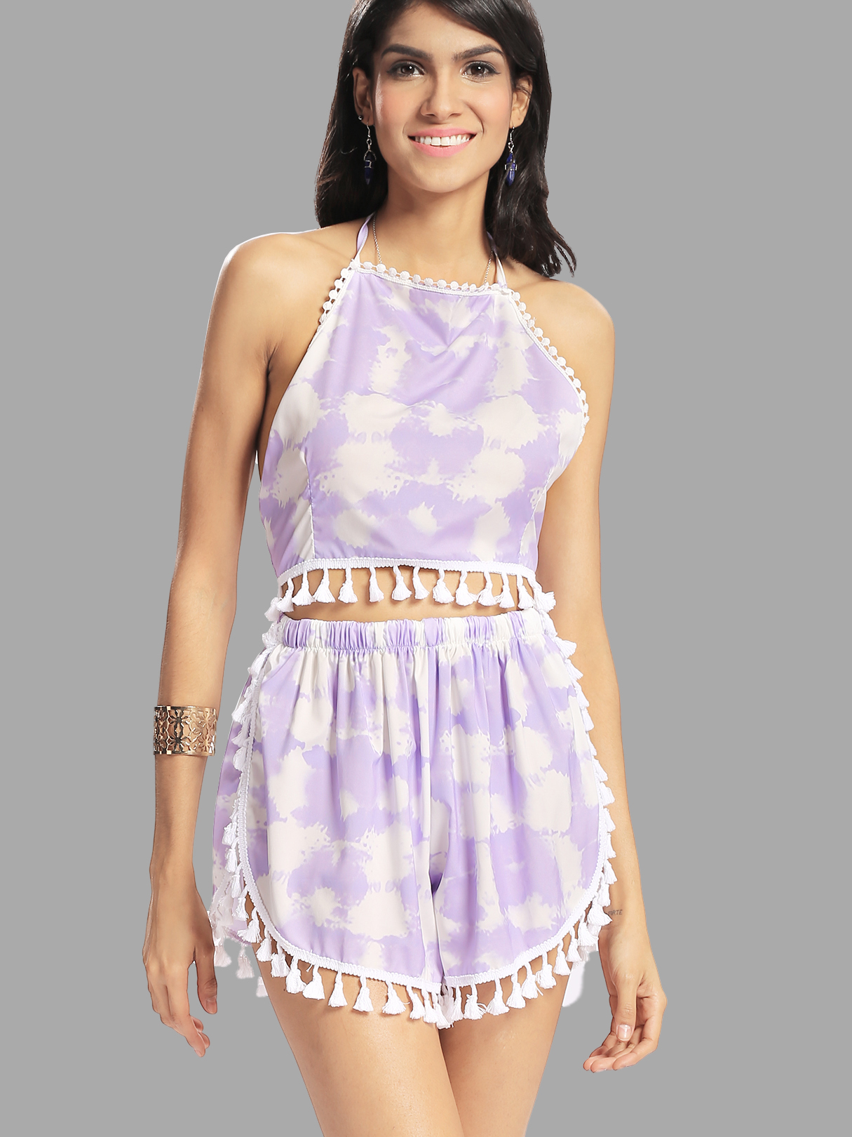 Fantasy Colour Pattern Self-tie Crop Top & Sides Slit Co-ord with Tassels Trim