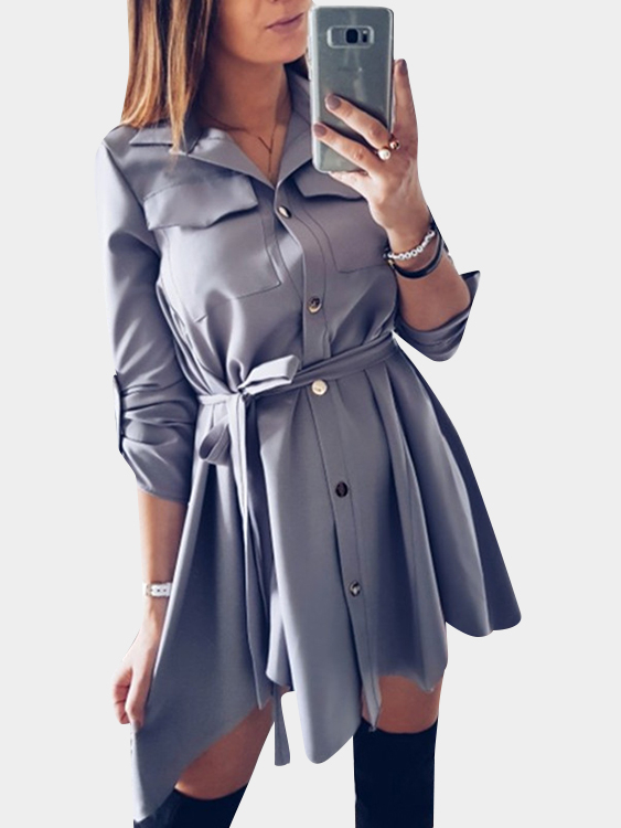 Dark Grey Basic Collar Lace-up Design Single Breasted Button Shirt Dress купить недорого в Москве