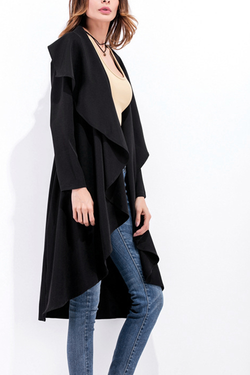 Black Asymmetric Ruffled Open Front Trench Coat pocket front curved hem wrap trench dress