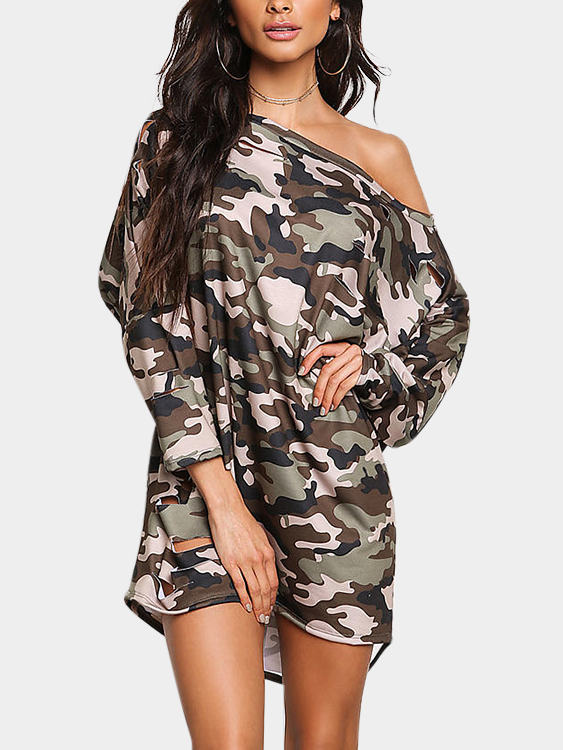 Camouflage Ripped Details Asymmetrical Mini Dress
