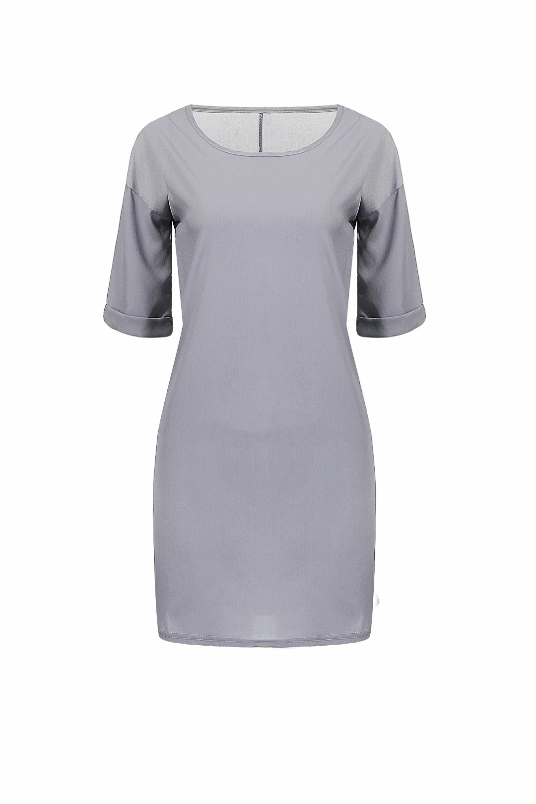 Longline T-shirt With Curled Sleeves