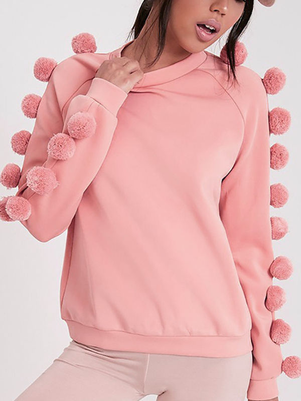 Pink Long Sleeves Fleece Lined Sweatshirt with Pom Pom Details grey fashion round neck long sleeves pom pom details sweatshirt