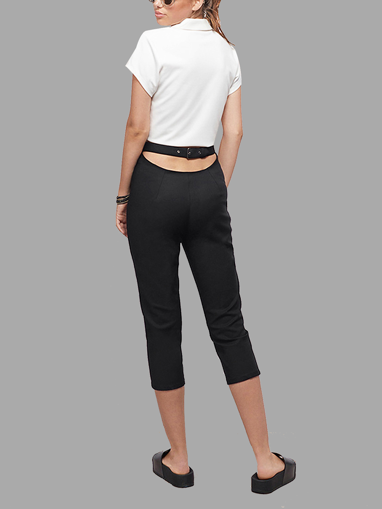 Black High Waist Cut-out Cropped Trousers the white guard