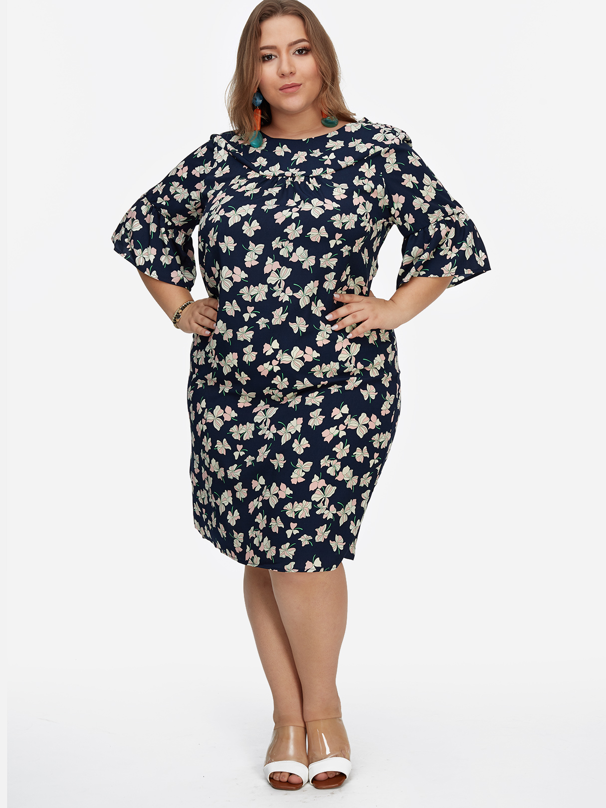 Plus Size Navy Floral Print Flared Sleeves Dress