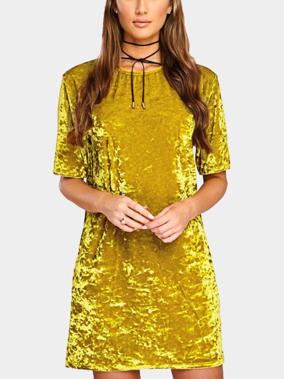 Golden Velvet Round Neck Mini T-Shirt Dress christmas faux fur fitted velvet short party dress with hat