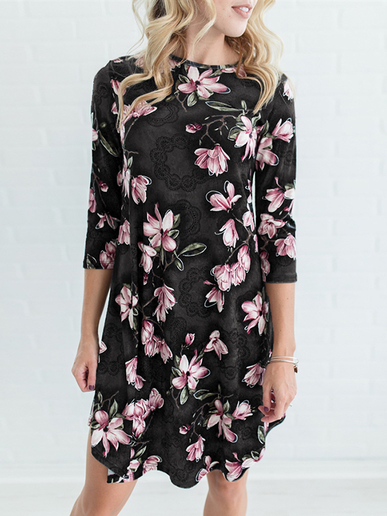 Black Random Floral Print 3/4 Length Sleeves Midi Dress купить