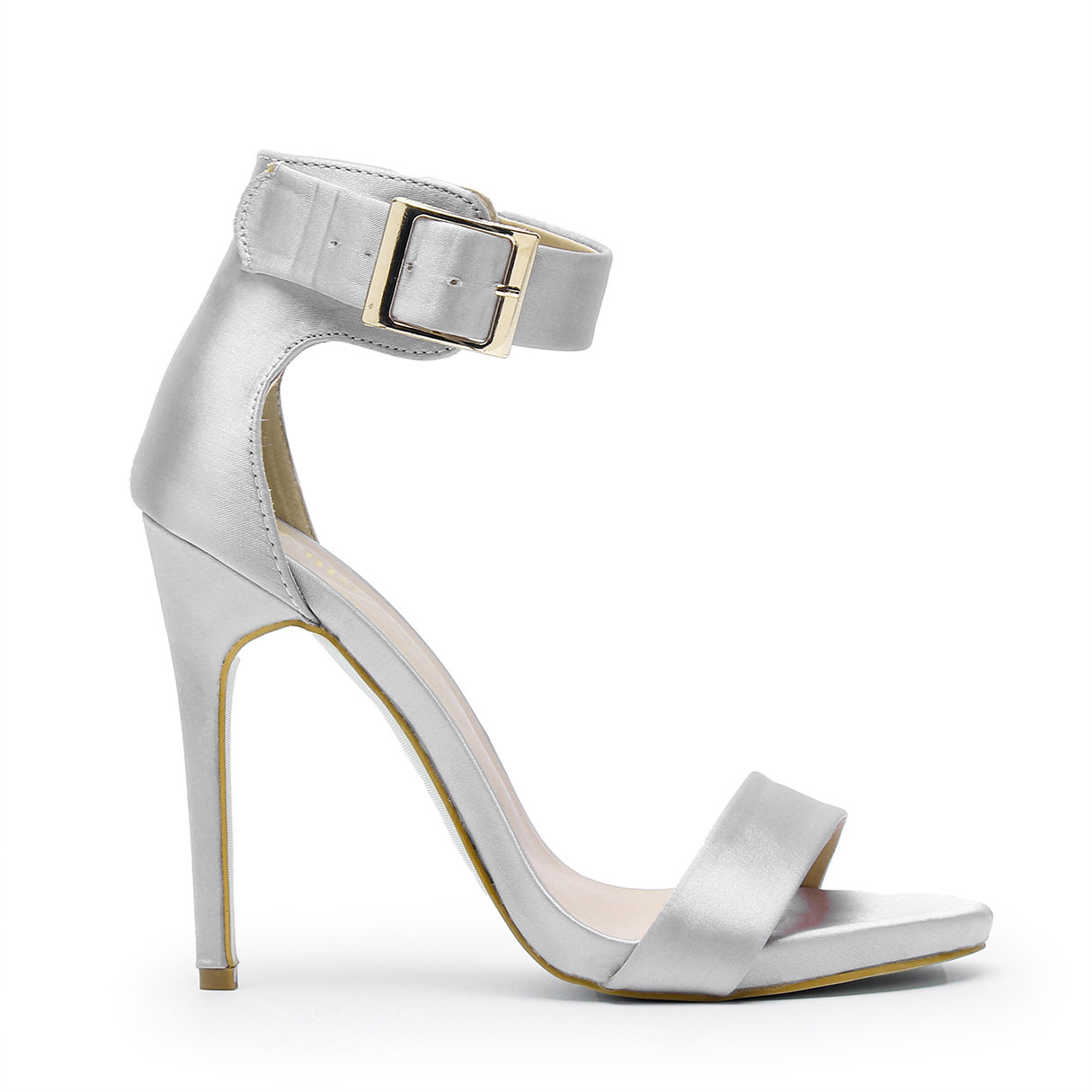 Silver Stiletto Sandals with Ankle Strap