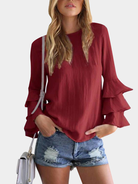 Red Round Neck Flared Sleeves Blouse black splited in the back plain round neck flared sleeves blouse