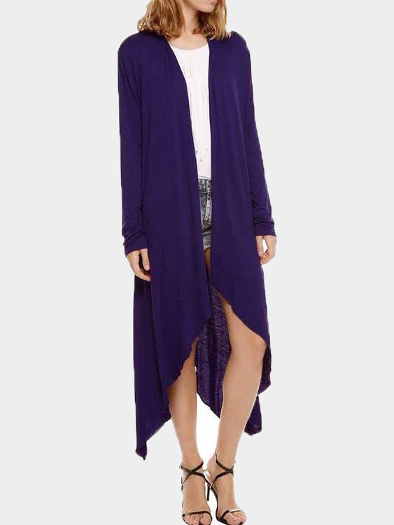 Purple Waterfall Longline Jersey Cardigan camel jersey knit waterfall blazer