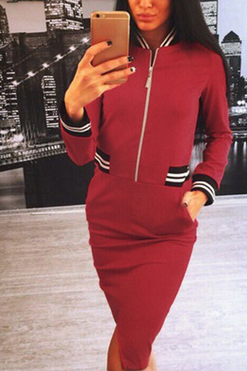 Red Split Zipper Midi Dress With Side Pockets