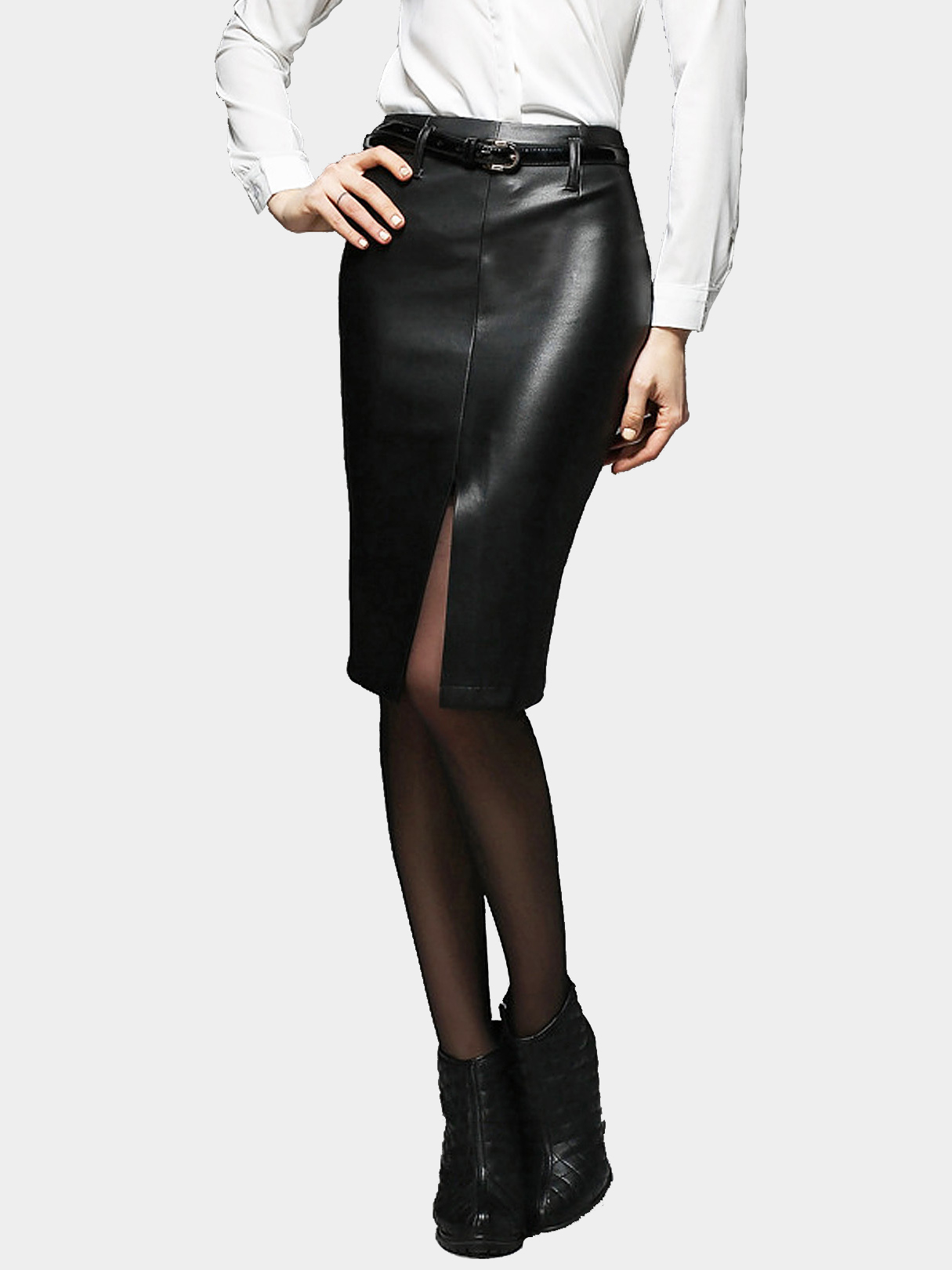 Black Midi Pencil Skirt with Belt