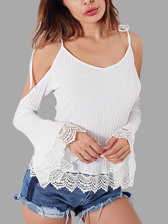 White Crochet Lace Spaghetti Cold Shoulder Bell Sleeves Blouses