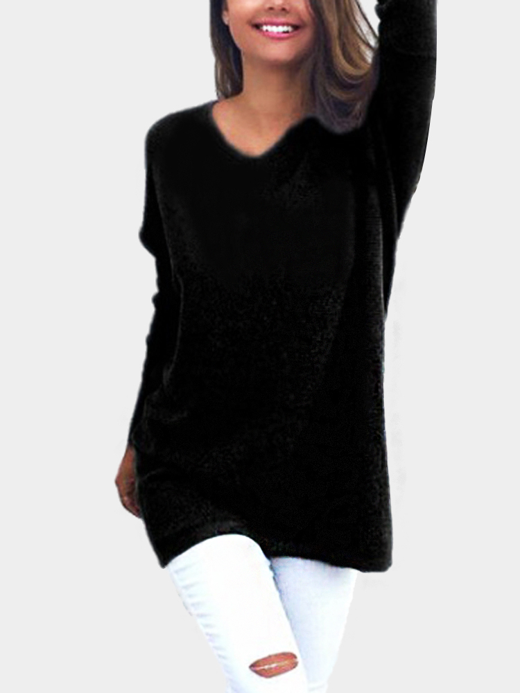 Black Casual Long Sleeves V-neck Sweater long sleeves layered swing sweater dress
