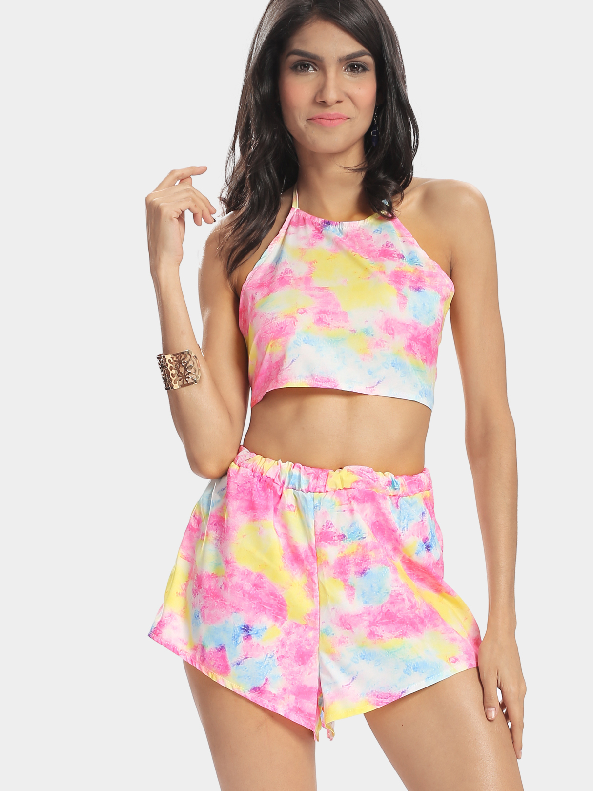 Rainbow Printing Halter Cropped Top & Mini Skirt Co-ord guess new silver white women s medium m cropped gathered halter top $49 007