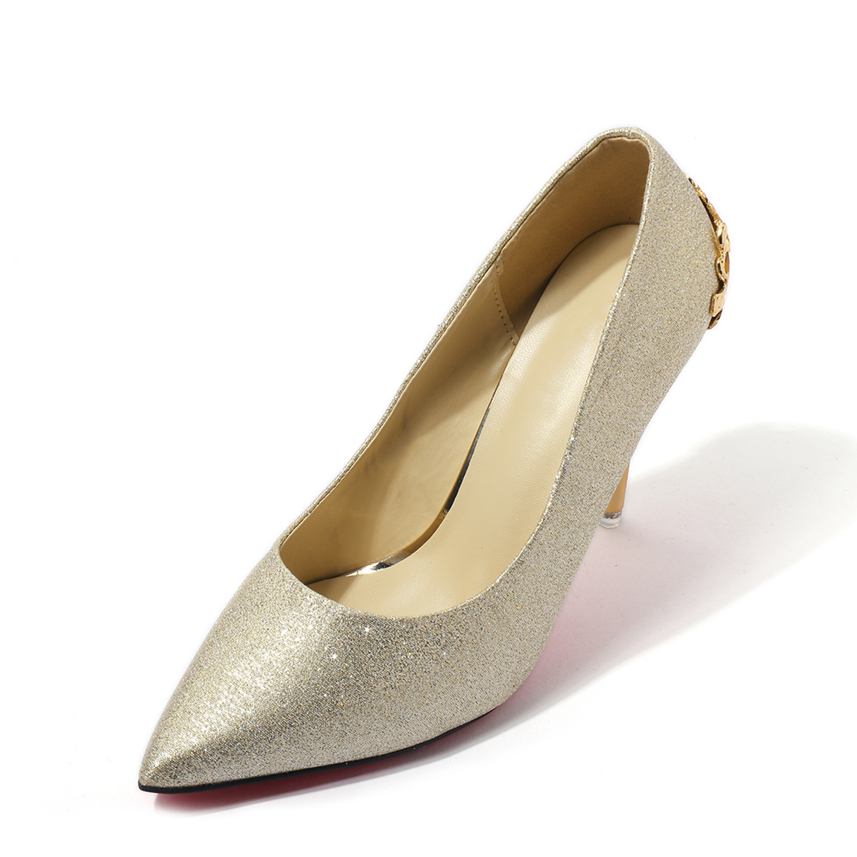 Light Gold Wedding Glitter Design Stiletto Solid Color Pumps spring autumn fashion pointed toe high heels solid causal women pumps shoes faux velvet female work pumps wedding shoes 302 1ve