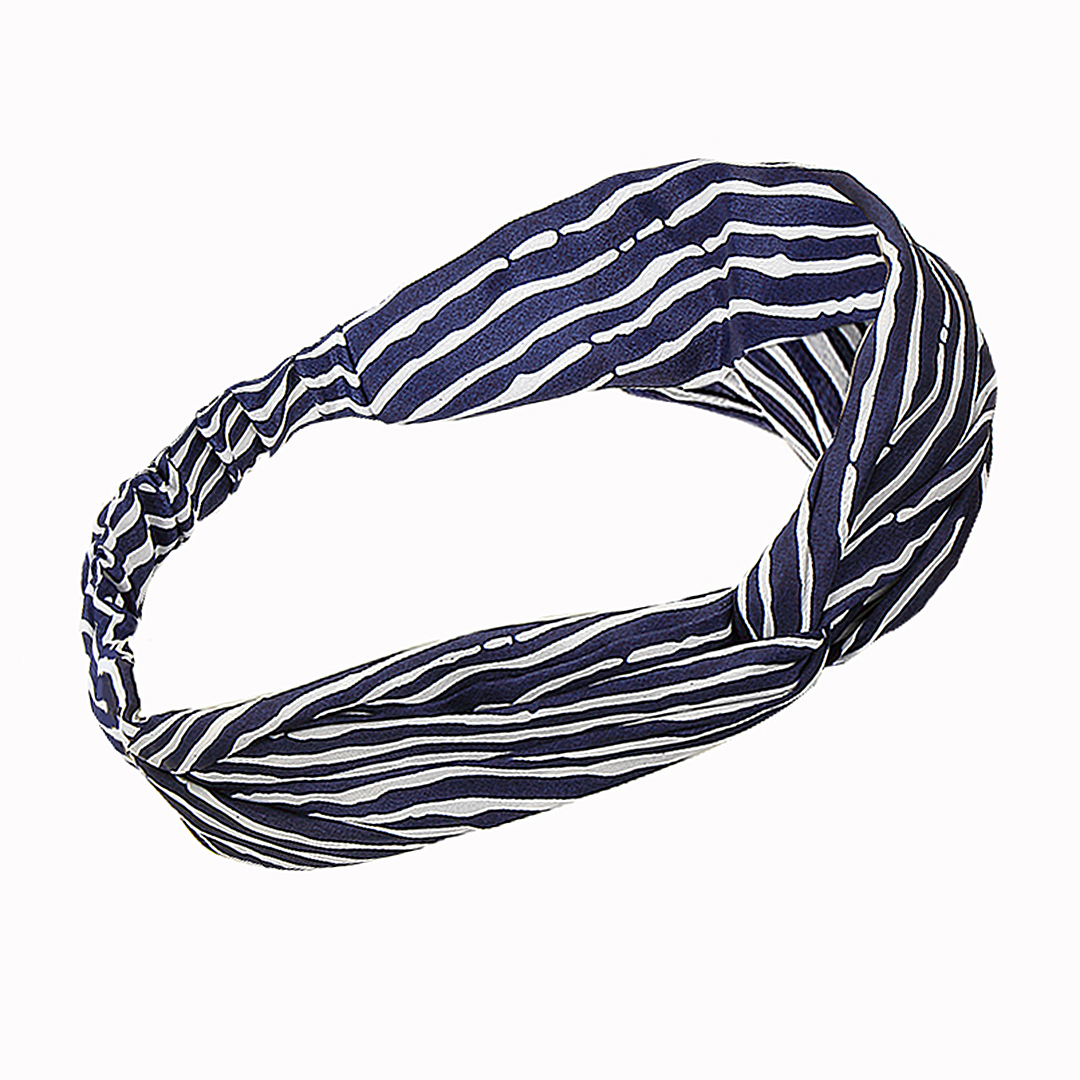 Retro Striped Twisted Headband in Navy