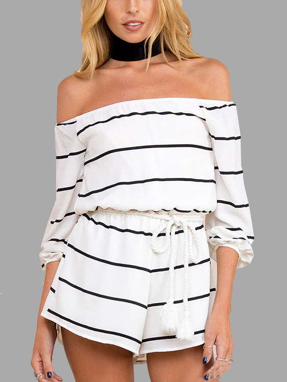 Off Shoulder Stripe Pattern Rope Tie Playsuit stripe pattern off shoulder long sleeves waist tie playsuit with tassel detail