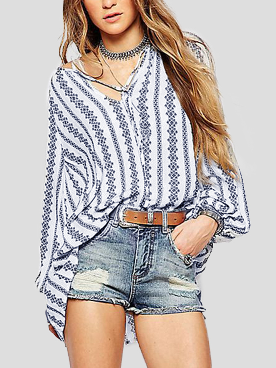 цена White Vertical Fringe Pattern Long Sleeves Self-tie Blouse