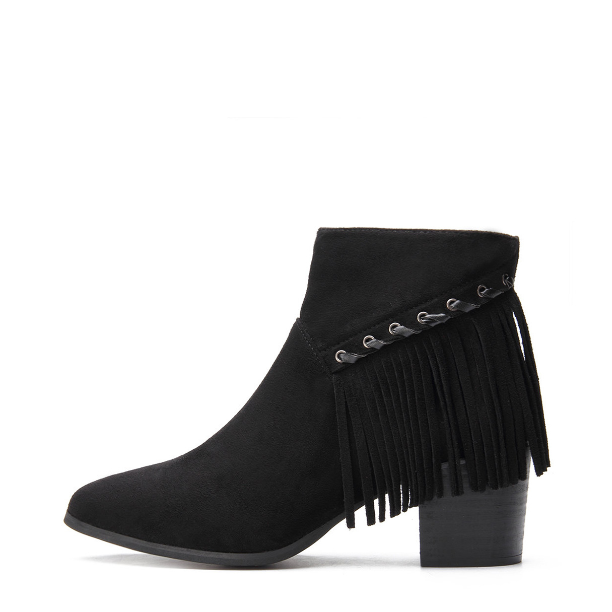 Black Suede Chunky Heels Tassel Design Ankle Boots