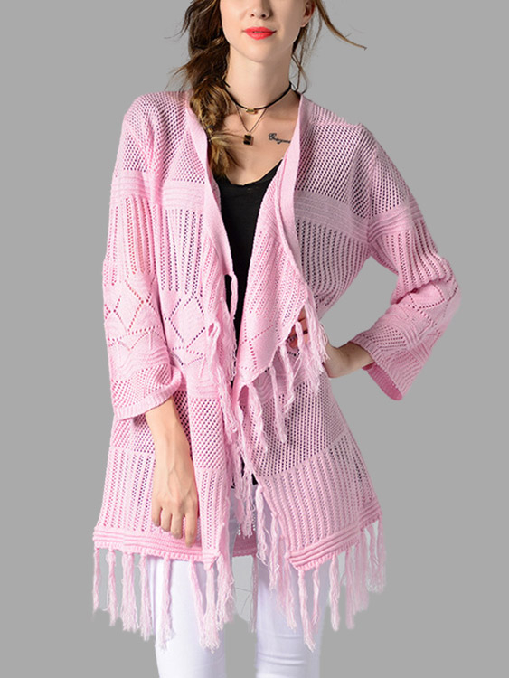 Pink Fashion Long Sleeves Open Front Knitwear with Tassel Details