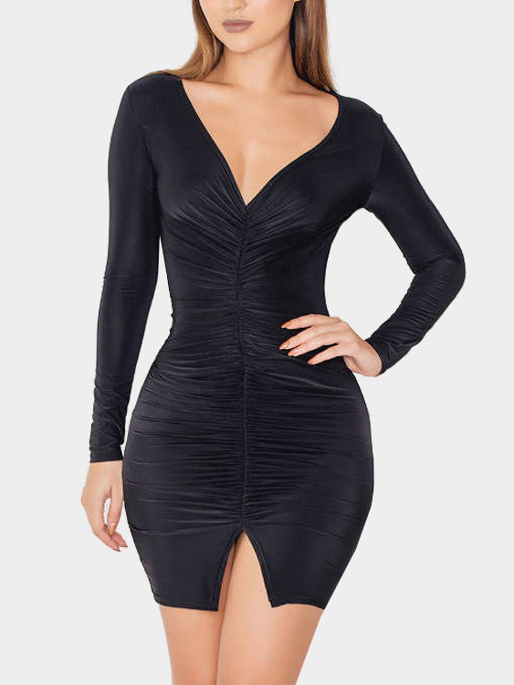 Black V Neck Split Detail Pleated Front Party Dress