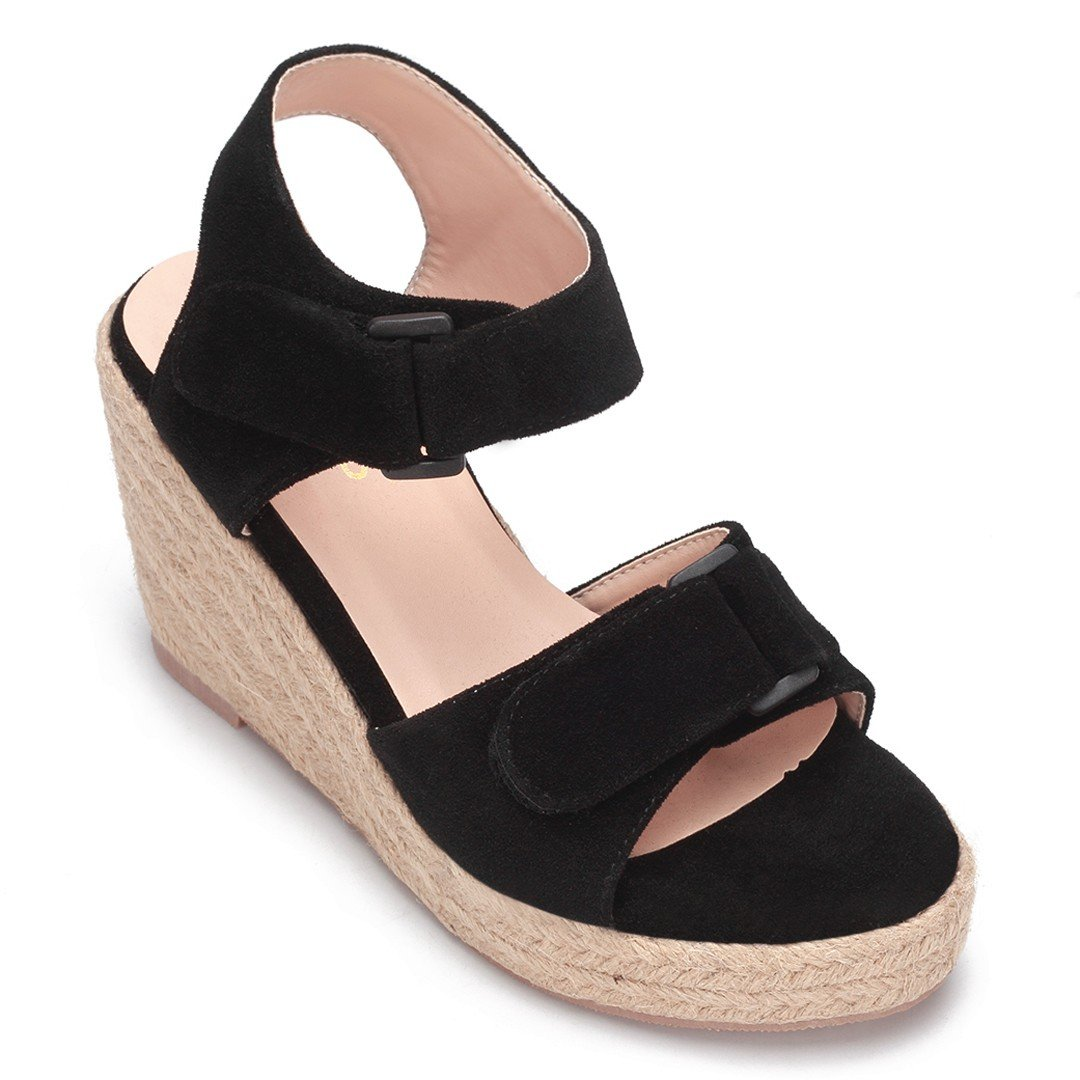 Black Double Buckle Straps Woven Wedge Sandals
